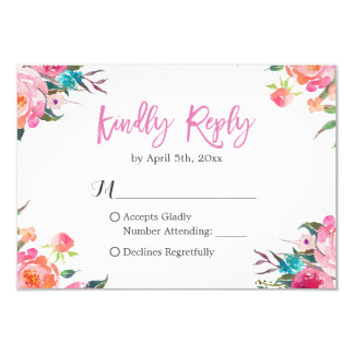 Watercolor Botanical Floral Wedding RSVP Response Card