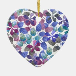 watercolor Botanical garden II Ceramic Heart Ornament
