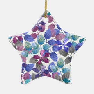 watercolor Botanical garden II Ceramic Star Ornament