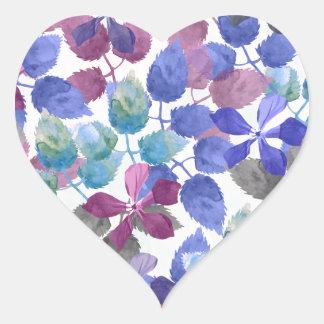 watercolor Botanical garden II Heart Sticker