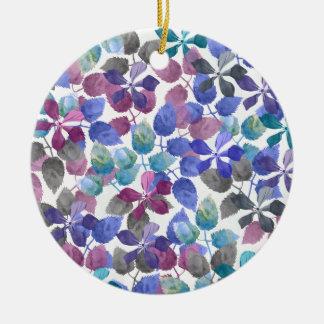 watercolor Botanical garden IV Round Ceramic Ornament