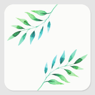 Watercolor Botanical Leaf Print Ombre Square Sticker