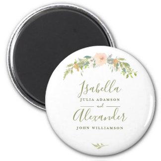Watercolor Botanical Wreath Wedding Magnet