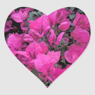 Watercolor-Bougainvillea Heart Sticker