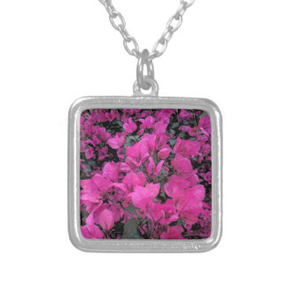 Watercolor-Bougainvillea Silver Plated Necklace