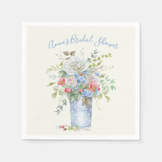 Watercolor Bouquet Garden Bucket Any Color Paper Napkin