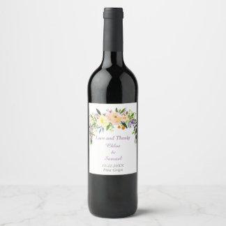 Watercolor Bouquet Personalized Wedding Wine Label