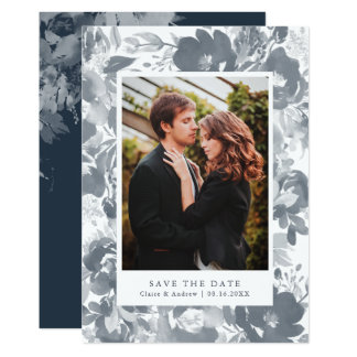 Watercolor Bouquet Photo Save the Date Card