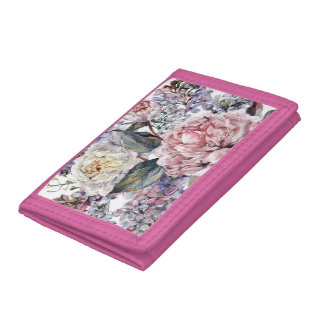 Watercolor Bouquet TriFold Nylon Wallet