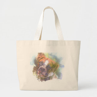 Watercolor Boxer Dog Large Tote Bag