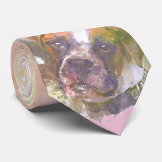 Watercolor Boxer Dog Tie