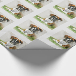 Watercolor Boxer Puppy Dog on Grass Wrapping Paper