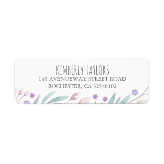 watercolor branches and berries woodland return address label