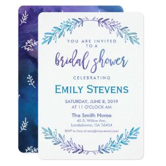 Watercolor Bridal Floral Blue & Purple Card