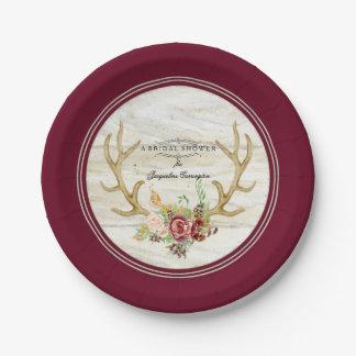 Watercolor Bridal Shower Boho Deer Antler Red Rose Paper Plate