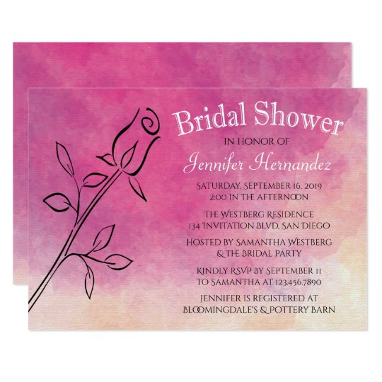 Watercolor Bridal Shower Rose Flower Purple Ombre Card