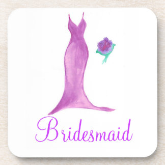 "Watercolor ""Bridesmaid"" Dress and Bouquet Coaster"