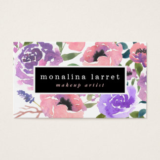 Watercolor Bright Pink Purple Floral Bunch Business Card