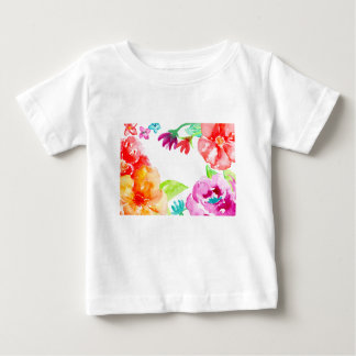 Watercolor Bright Red and Orange Flowers Baby T-Shirt