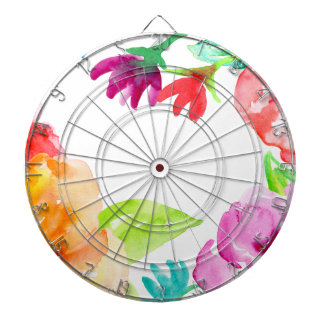 Watercolor Bright Red and Orange Flowers Dartboard