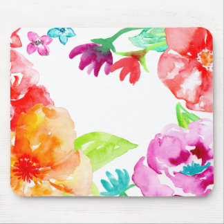 Watercolor Bright Red and Orange Flowers Mouse Pad