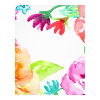 Watercolor Bright Red and Orange Flowers Personalized Letterhead