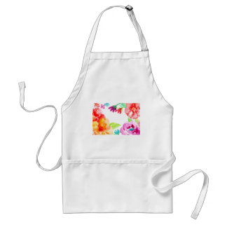 Watercolor Bright Red and Orange Flowers Standard Apron
