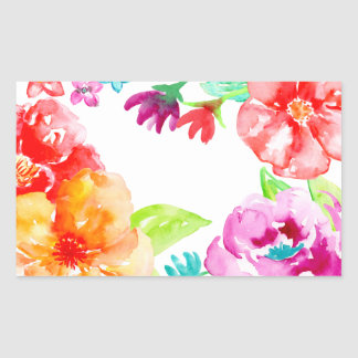 Watercolor Bright Red and Orange Flowers Sticker