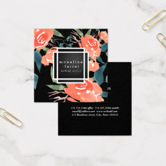 Watercolor Bright Red Floral Bunch Square Business Card