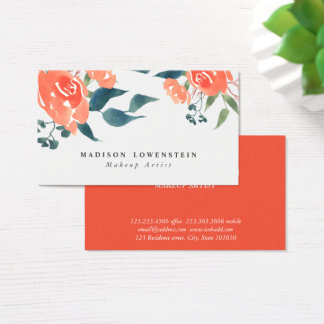 Watercolor Bright Red Rose Flowers Business Card