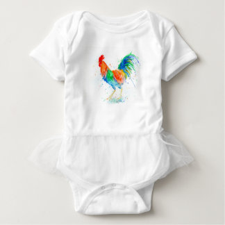 Watercolor Bright Rooster Print Baby Bodysuit