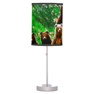 Watercolor Brown Bear Family Wildlife Art Lamp