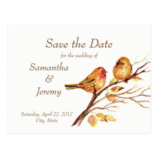 Watercolor Brown Red Gold Birds Save the Date Postcard
