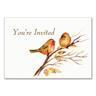 Watercolor Brown Red Gold Birds Wedding Invite Card