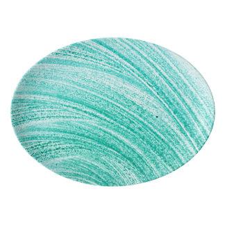watercolor brush curved line texture porcelain serving platter