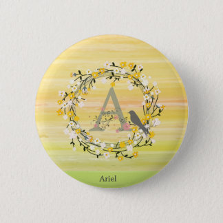 Watercolor Brush Lines, Spring Wreath Monogram 2 Inch Round Button