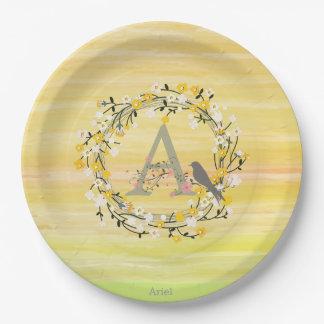 Watercolor Brush Lines, Spring Wreath Monogram 9 Inch Paper Plate