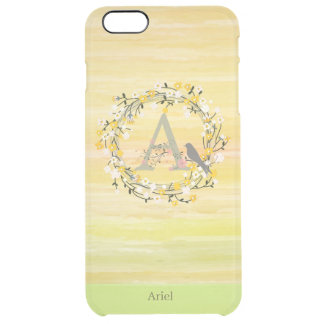 Watercolor Brush Lines, Spring Wreath Monogram Clear iPhone 6 Plus Case