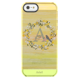 Watercolor Brush Lines, Spring Wreath Monogram Clear iPhone SE/5/5s Case