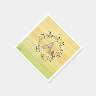 Watercolor Brush Lines, Spring Wreath Monogram Disposable Napkin
