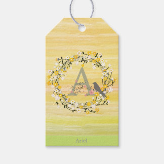 Watercolor Brush Lines, Spring Wreath Monogram Gift Tags