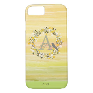 Watercolor Brush Lines, Spring Wreath Monogram iPhone 8/7 Case