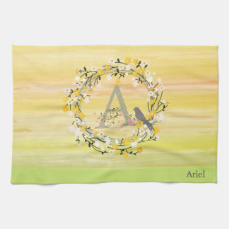 Watercolor Brush Lines, Spring Wreath Monogram Kitchen Towel