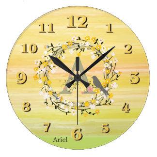 Watercolor Brush Lines, Spring Wreath Monogram Large Clock