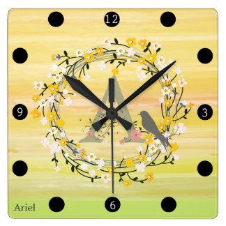 Watercolor Brush Lines, Spring Wreath Monogram Square Wall Clock