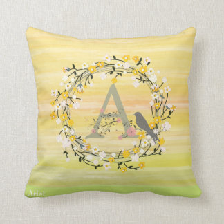 Watercolor Brush Lines, Spring Wreath Monogram Throw Pillow