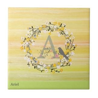Watercolor Brush Lines, Spring Wreath Monogram Tile