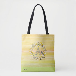Watercolor Brush Lines, Spring Wreath Monogram Tote Bag