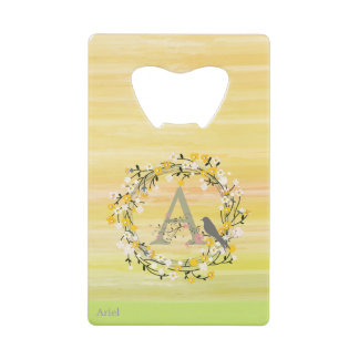 Watercolor Brush Lines, Spring Wreath Monogram Wallet Bottle Opener