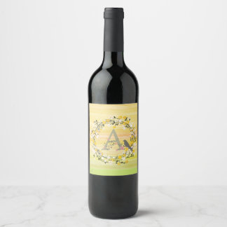 Watercolor Brush Lines, Spring Wreath Monogram Wine Label